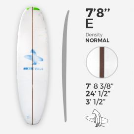 7'8'' E Egg - Green density - 3/16'' Dyed Basswood Brown stringer, ARCTIC FOAM
