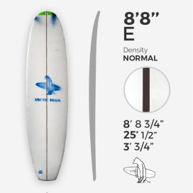 8'8'' E Malibu, Green density - 1/4'' Dyed Basswood Brown stringer, ARCTIC FOAM