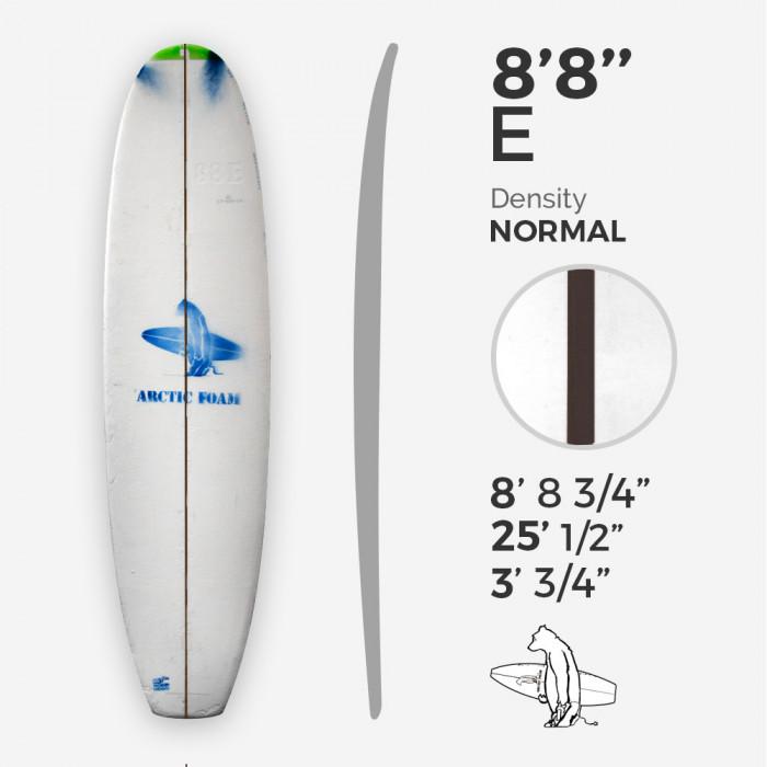 8'8'' E Malibu, Green density - 1/4'' Dyed Basswood Brown stringer, ARCTIC FOAM