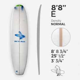 8'8'' E Malibu, Green density - latte 5/16'' Basswood, ARCTIC FOAM