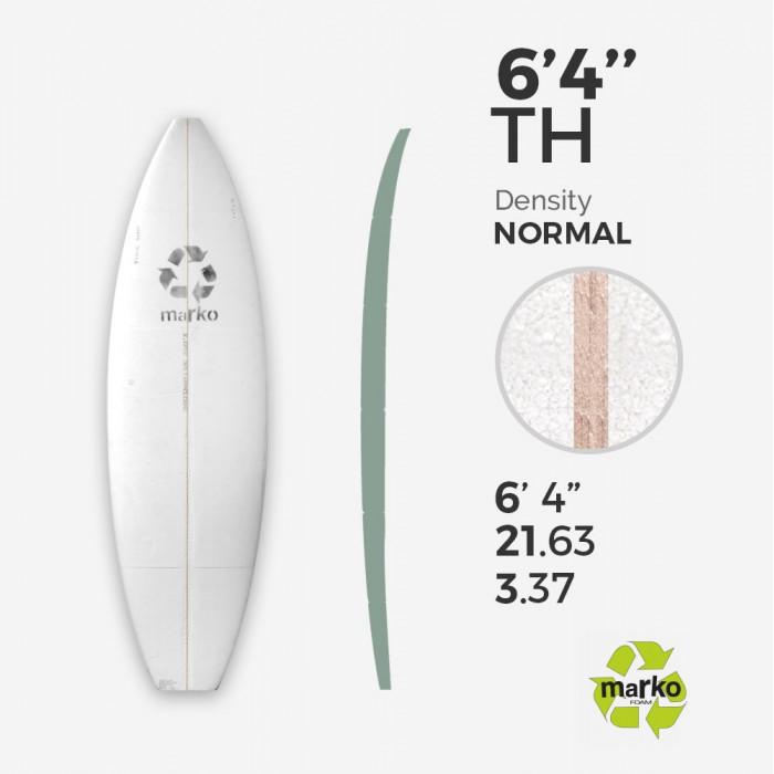 EPS 6'4'' TH - Marko Foam surfboard blank - 4mm Ply - Enviro Foam 2.0