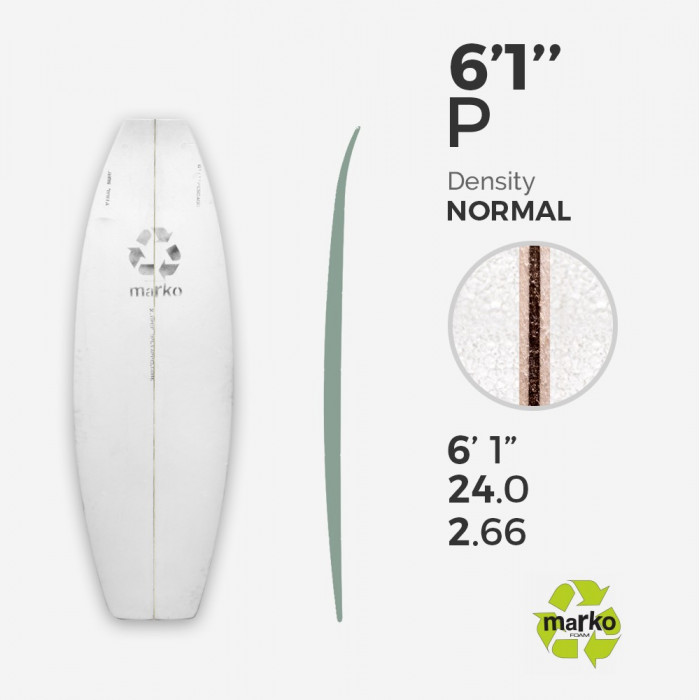 EPS 6'1'' PESCADO - Marko Foam surfboard blank - 6'1'' x 24'' x 2,85''' Ply