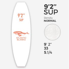 Foam de SUP en EPS 9'2'' x 33'' x 5 1/4'' - sin costilla, ATLANTIC BLANKS