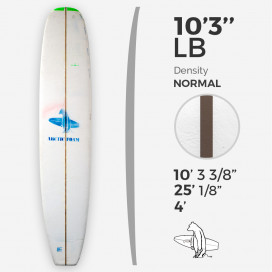 10'3'' LB Longboard - Green density - latte 3/8'' Dyed Basswood Brown, ARCTIC FOAM