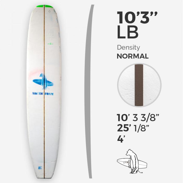 10'3'' LB Longboard - Green density - latte 3/8'' Dyed Basswood Brown, ARCTIC FOAM