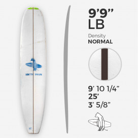 9'9'' L Longboard, Green density - 3/8'' Dyed Basswood Brown STRINGER, ARCTIC FOAM