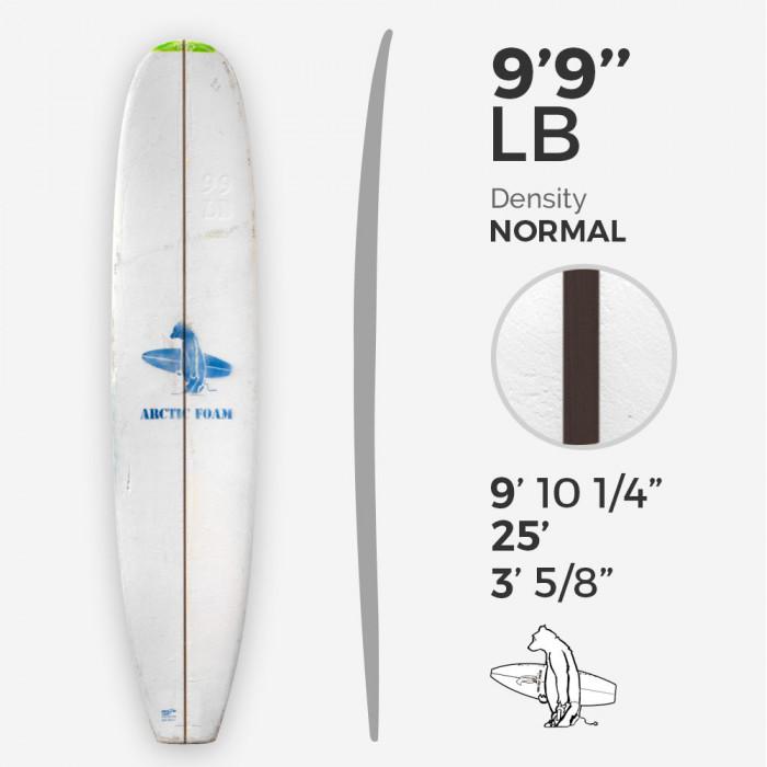9'9'' L Longboard, Green density - latte 3/8'' Dyed Basswood Brown, ARCTIC FOAM