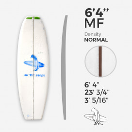 6'4'' MF Fish - Green density - 1/8'' Dyed Basswood Brown stringer, ARCTIC FOAM