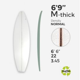 6'9'' M Thick EPS - 6'9'' x 22'' x 3.375'', latte 1/8'' Ply, MARKO FOAM