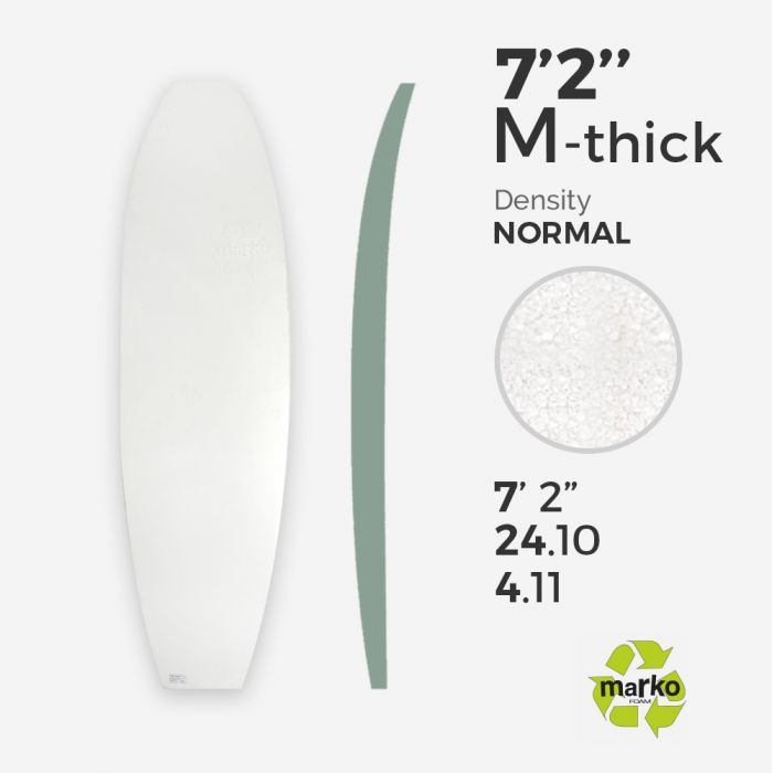 "7'2'' Thick EPS - 7'2'' x 24"" x 4,1"", No Stringer, MARKO FOAM"