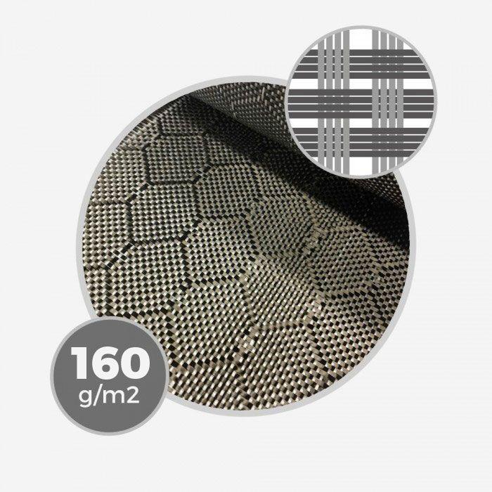 Tissu Innegra Hexagon white / carbon - 160gr/m - 4,7oz - largeur 68,5cm