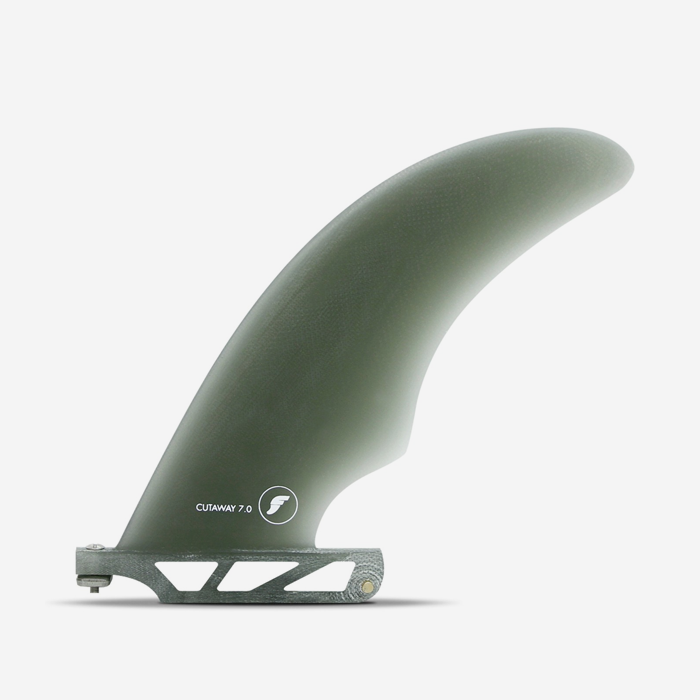 "Longboard fin - Cutaway Fiberglass Smoke 7"", FUTURES."