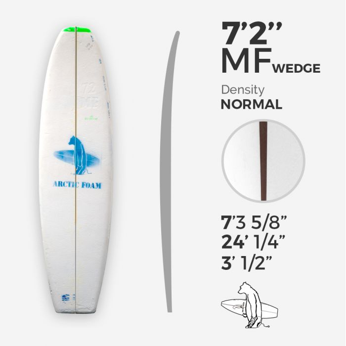 7'2'' MF Fish - Green density - 3/8'' red cedar wedge 3/8'' nose to 1/16'' tail stringer, ARCTIC FOAM